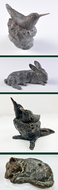 Hummingbird and Rabbit Sculpture