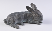 Mark Rossi Cast Bronze Sculpture - Cottontail Rabbit Weanling