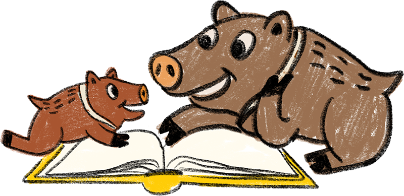 Cartoon javelina family reading a book together