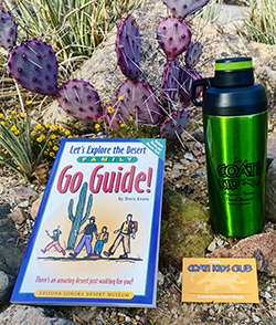Water bottle, go guide and membership card