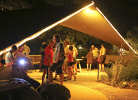 Guests under floodlit canopy in the Desert Garden
