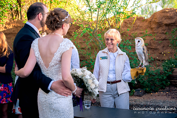 Photo of a ringtail with bride and groom during a desert experience